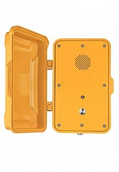 JR102-SC-Y-SIP Промышленный SIP телефон с крышкой, с 1 кнопкой, 2 SIP аккаунта, RJ45, WAN/LAN