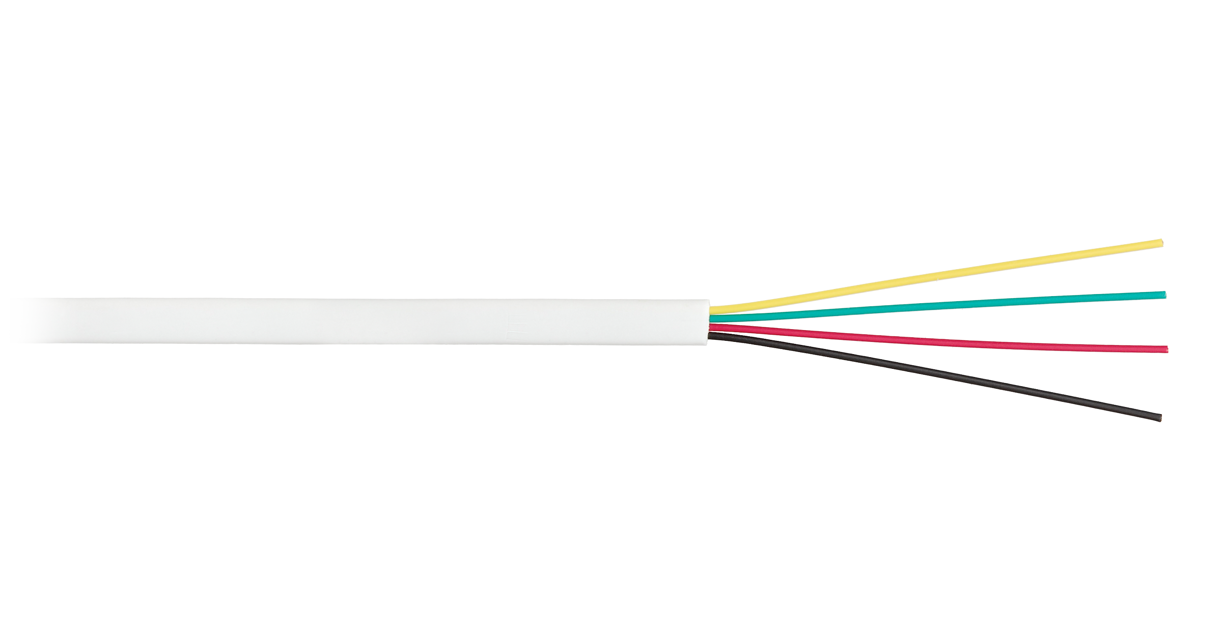 NKL 2026A-WT Кабель NIKOLAN телефонный, плоский, 4 многожильных проводника, BC (чистая медь), 26AWG (7х0,16мм), внутренний, PVC, белый, 100м