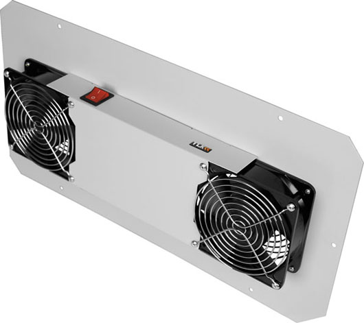 TLK-FAN2-TERM-GY Вентиляторный блок TLK для настенных шкафов серии TWC и TWA, 2 вентилятора с терморегулятором и датчиком, без шнура питания, серый