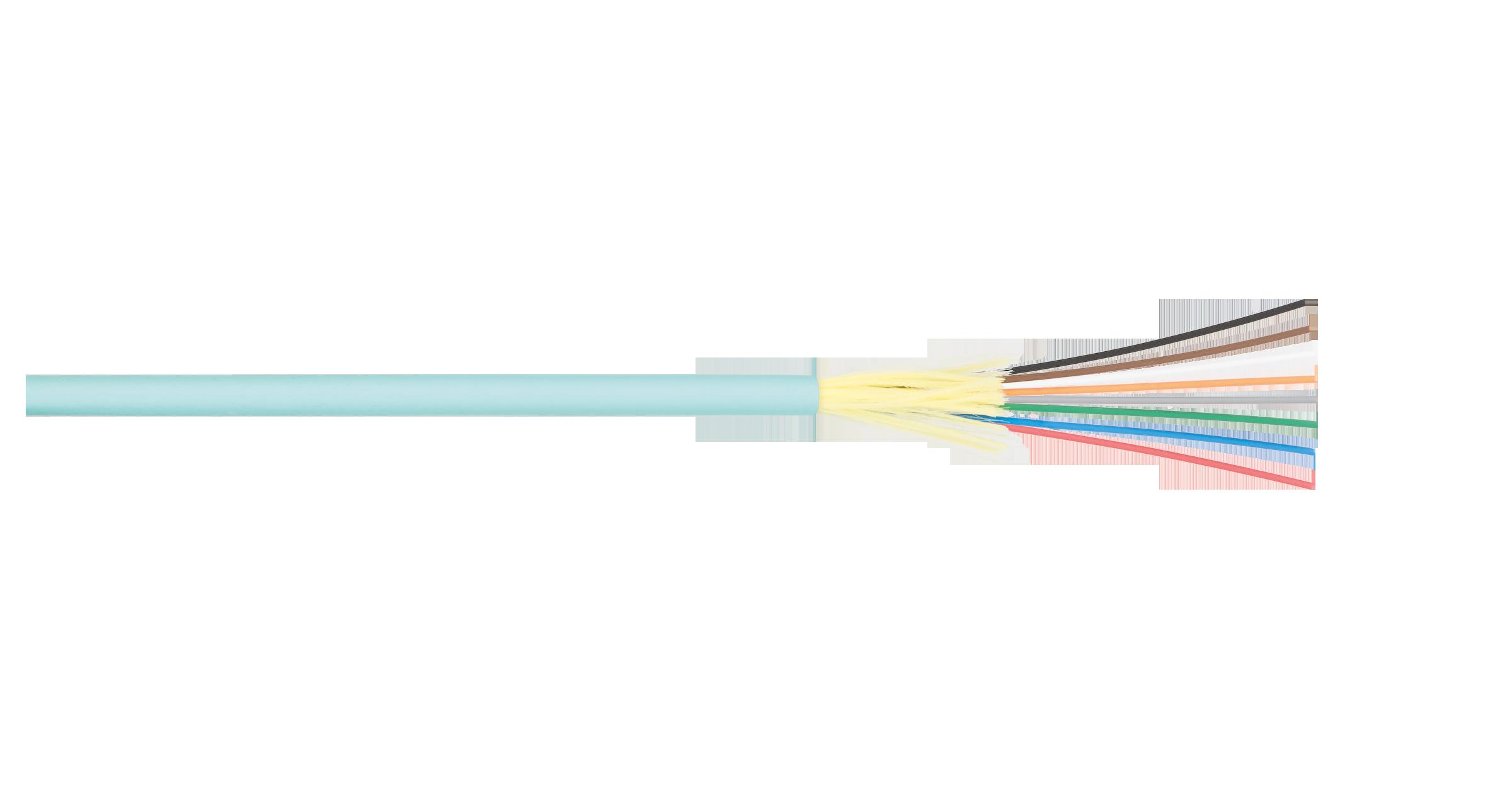 NKL-F-016M5I-00C-AQ Кабель NIKOLAN волоконно-оптический, 16 волокон, многомодовый 50/125мкм, стандарта ОМ3, внутренний, распределительный, с плотным буфером, LSZH нг(B)-HFLTx, аква