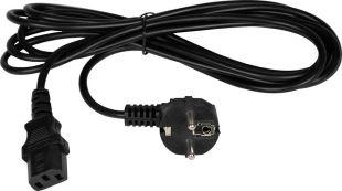 TLK-PCC16-030 Кабель питания TLK, вход - евровилка с заземлением (Schuko, CEE 7/7), выход - разъём C19 (IEC 60320),  3x1.5мм2, 3м, 250В 16A, черный