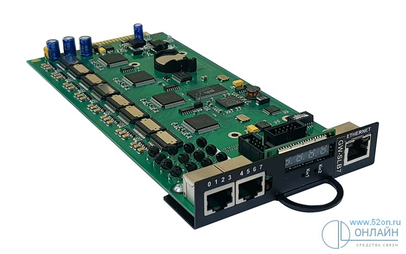 Регион GWSLB7 Комбинированная плата-шлюз: объединенный LAN/WAN-порт, до 200 IP телефонов и до 10 разговорных IP-каналов (кодеки G711/G729, протоколы SIP, H.323) + 8 абонентских портов ЦБ (FXS)