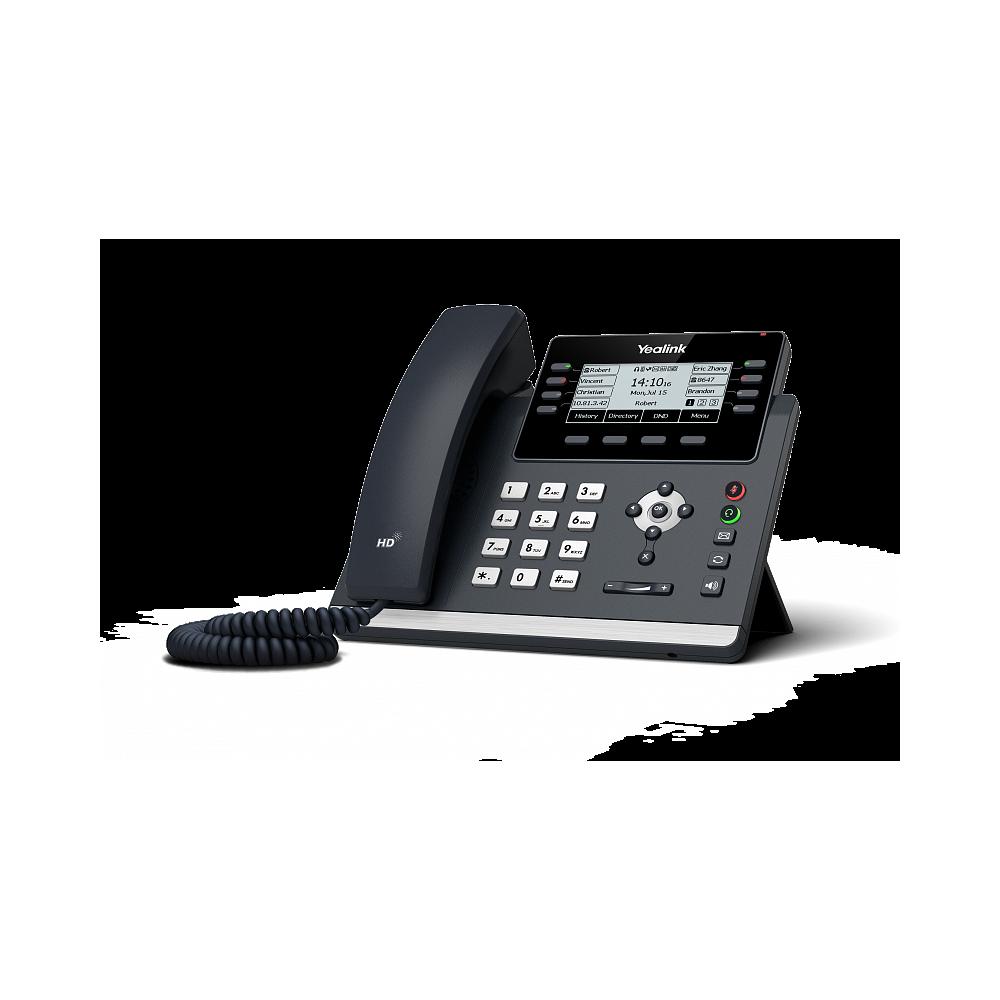 Yealink SIP-T43U SIP-телефон, 12 аккаунтов, 2 порта USB, BLF,  PoE, GigE, без БП