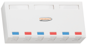 NMC-MB6P-ST-WT Корпус настенной розетки NIKOMAX, 6 портов, под модули-вставки типа Keystone, со шторками, белый