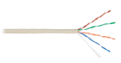 NKL 9100A-IY Кабель NIKOLAN U/UTP 4 пары, Кат.5e (Класс D), тест по ISO/IEC, 100МГц, одножильный, BC (чистая медь), 24AWG (0,511мм), внутренний, PVC нг(А), слоновая кость, 305м