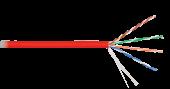 NKL 9100C-RD Кабель NIKOLAN U/UTP 4 пары, Кат.5e (Класс D), тест по ISO/IEC, 100МГц, одножильный, BC (чистая медь), 24AWG (0,511мм), внутренний, LSZH нг(А)-HFLTx, красный, 305м