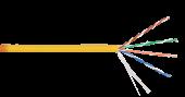 NKL 9100C-YL Кабель NIKOLAN U/UTP 4 пары, Кат.5e (Класс D), тест по ISO/IEC, 100МГц, одножильный, BC (чистая медь), 24AWG (0,511мм), внутренний, LSZH нг(А)-HFLTx, желтый, 305м