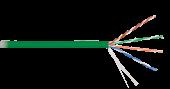NKL 9100C-GN Кабель NIKOLAN U/UTP 4 пары, Кат.5e (Класс D), тест по ISO/IEC, 100МГц, одножильный, BC (чистая медь), 24AWG (0,511мм), внутренний, LSZH нг(А)-HFLTx, зеленый, 305м