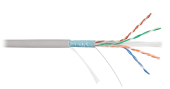 NKL 4240A-GY Кабель NIKOLAN F/UTP 4 пары, Кат.6 (Класс E), тест по ISO/IEC, 250МГц, одножильный, BC (чистая медь), 23AWG (0,57мм), внутренний, PVC нг(А), серый, 305м