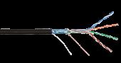 NKL 4700B-BK Кабель NIKOLAN F/UTP 4 пары, Кат.5e (Класс D), тест по ISO/IEC, 100МГц, одножильный, BC (чистая медь), 24AWG (0,50мм), внешний, PE до -60С, черный, 305м