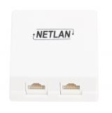 EC-UWO-2-UD2-WT-10 Настенная розетка NETLAN, 2 порта, Кат.5e (Класс D), 100МГц, RJ45/8P8C, 110, T568A/B, неэкранированная, белая, уп-ка 10шт.