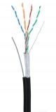 EC-UF004-5E-PE-SW-BK Кабель NETLAN F/UTP 4 пары, Кат.5e (Класс D), 100МГц, одножильный, BC (чистая медь), внешний, PE до -40C, с одножильным тросом, черный, 305м
