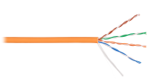 NKL 9100C-OR Кабель NIKOLAN U/UTP 4 пары, Кат.5e (Класс D), тест по ISO/IEC, 100МГц, одножильный, BC (чистая медь), 24AWG (0,511мм), внутренний, LSZH нг(А)-HFLTx, оранжевый, 305м