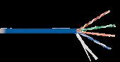 NKL 9100C-BL Кабель NIKOLAN U/UTP 4 пары, Кат.5e (Класс D), тест по ISO/IEC, 100МГц, одножильный, BC (чистая медь), 24AWG (0,511мм), внутренний, LSZH нг(А)-HFLTx, синий, 305м