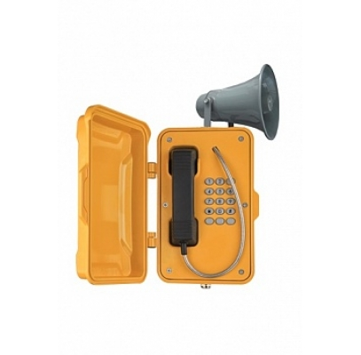 JR101-FK-Y-H-SIP Промышленный SIP телефон с крышкой и громкоговорителем, DC 5V или PoE, 2 SIP аккаунта