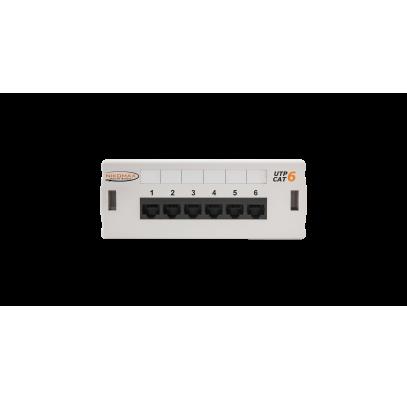 NMC-WP06UE2-GY Коммутационная панель NIKOMAX настенная, 6 портов, Кат.6 (Класс E), 250МГц, RJ45/8P8C, 110, T568A/B, неэкранированная, светло-серая